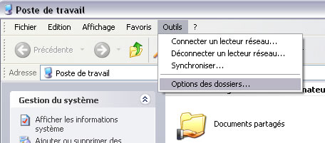 menu options des dossiers